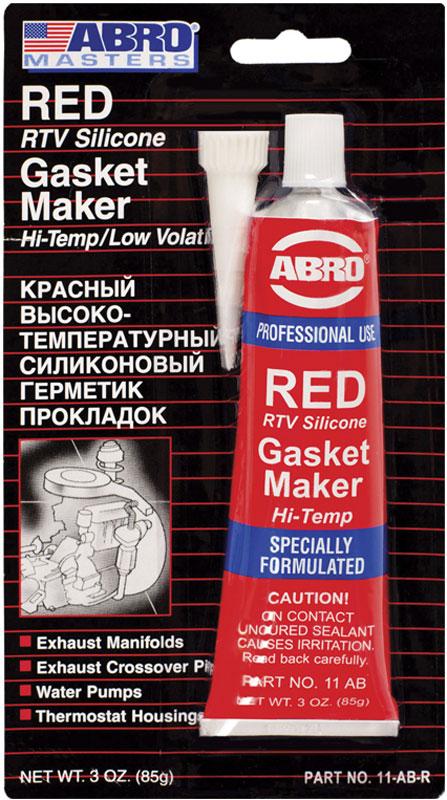 Герметик прокладок Abro Masters, цвет: красный, 85 г11-AB-CHМногоцелевые герметики прокладок Blue, Red, Clear, Black предназначены для ремонта или замены почти всех встречающихся в автомобиле прокладок. Герметик ABRO принимает любую форму и успешно выдерживает сжатие, растяжение и сдвиг; совершенно не разрушается под действием автомобильных масел, воды и антифриза. Также герметик ABRO обладает высокой стойкостью к бензину и тормозной жидкости. Более мягкий герметик прокладок Blue (синий), также как Clear и Black (прозрачный, черный), предназначен для применения при температурах до 260°С, в то время как герметик прокладок Red (красного цвета) разработан для более высоких температур до 343°С.