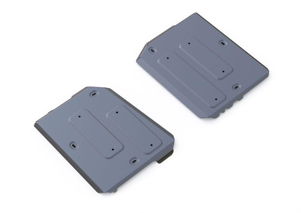 Защита топливного бака Rival, для Jeep Cherokee, алюминий 4 мм333.2729.1Защита топливного бака для Jeep Cherokee АКПП, 4WD, V - 2,4, 3,2 2014-, крепеж в комплекте, алюминий 4 мм, Rival Алюминиевые защиты картера Rival надежно защищают днище вашего автомобиля от повреждений, например при наезде на бордюры, а также выполняют эстетическую функцию при установке на высокие автомобили. - Толщина алюминиевых защит в 2 раза толще стальных, а вес при этом меньше до 30%. - Отлично отводит тепло от двигателя своей поверхностью, что спасает двигатель от перегрева в летний период или при высоких нагрузках. - В отличие от стальных, алюминиевые защиты не поддаются коррозии, что гарантирует срок службы защит более 5 лет. - Покрываются порошковой краской, что надолго сохраняет первоначальный вид новой защиты и защищает от гальванической коррозии. - Глубокий штамп дополнительно усиливает конструкцию защиты. - Подштамповка в местах крепления защищает крепеж от срезания. - Технологические...