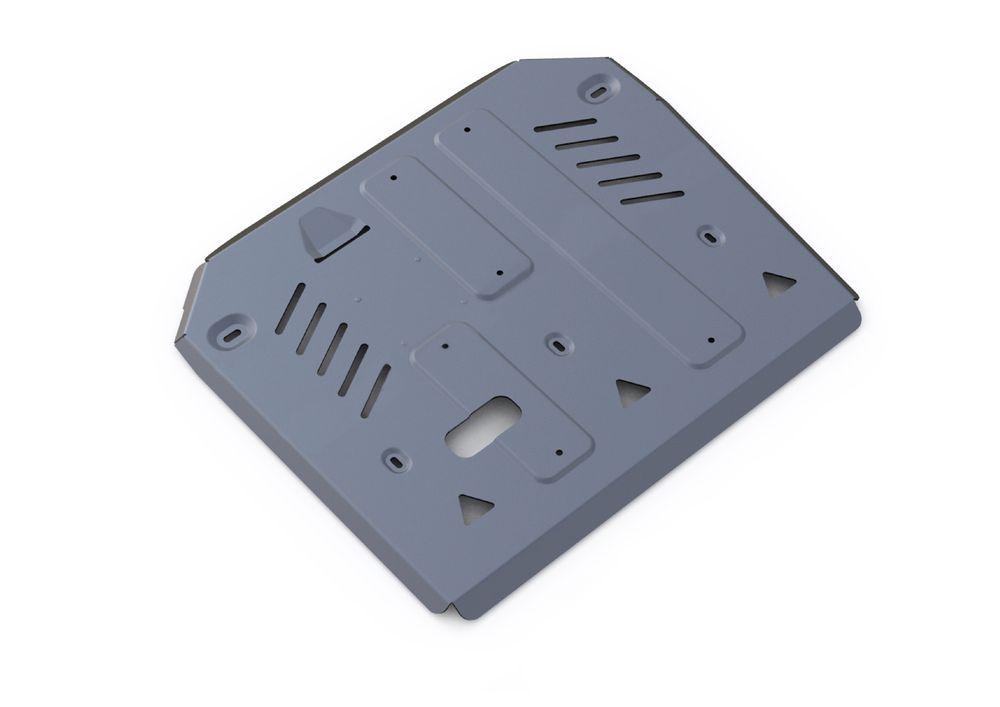 Защита КПП и РК Rival, для Porsche Cayenne, алюминий 4 мм333.4607.1Защита КПП и РК для Porsche Cayenne , V - 3,0TD; 4,1TD; 4,8T (Выводим) 2014-, крепеж в комплекте, алюминий 4 мм, Rival Алюминиевые защиты картера Rival надежно защищают днище вашего автомобиля от повреждений, например при наезде на бордюры, а также выполняют эстетическую функцию при установке на высокие автомобили. - Толщина алюминиевых защит в 2 раза толще стальных, а вес при этом меньше до 30%. - Отлично отводит тепло от двигателя своей поверхностью, что спасает двигатель от перегрева в летний период или при высоких нагрузках. - В отличие от стальных, алюминиевые защиты не поддаются коррозии, что гарантирует срок службы защит более 5 лет. - Покрываются порошковой краской, что надолго сохраняет первоначальный вид новой защиты и защищает от гальванической коррозии. - Глубокий штамп дополнительно усиливает конструкцию защиты. - Подштамповка в местах крепления защищает крепеж от срезания. -...