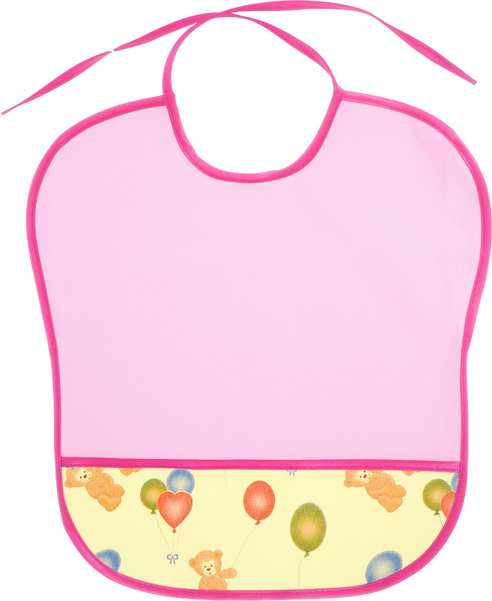 Колорит Нагрудник защитный с карманом Мишки цвет розовый малиновый 33 х 33 см
