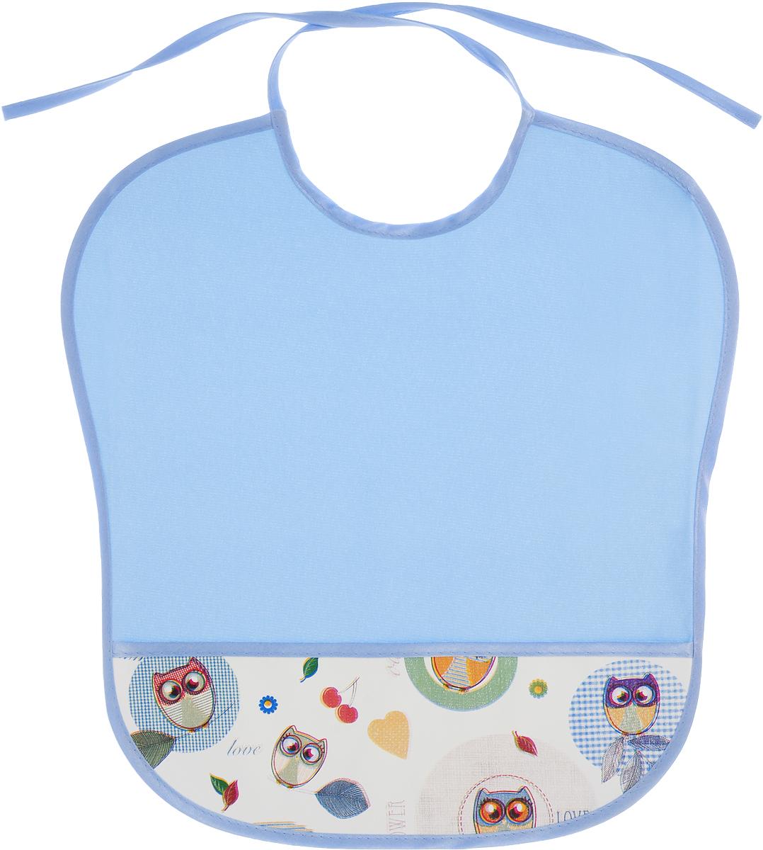 Колорит Нагрудник защитный с карманом Совы цвет голубой 33 х 33 см