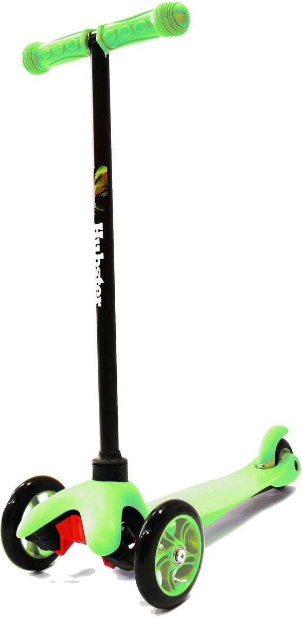 Самокат Hubster Mini, цвет: зеленый2244Высота руля от пола мин/макс: 64 см. Ширина руля: 25 см. Ширина деки: 11 см. Длина деки: 36 см. Размер колес: 120 мм. Максимальная нагрузка: 25 кг. Подшипники: ABEC7. Вес: 1,6 кг