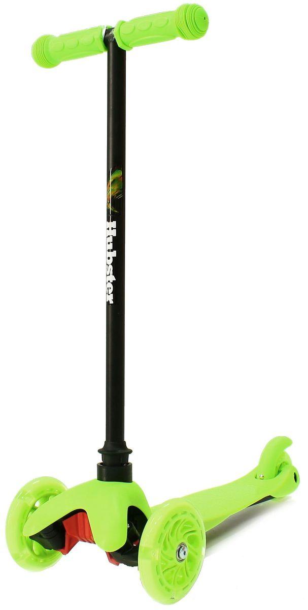 Самокат Hubster Mini Flash, цвет: зеленый2248Светящиеся колеса! Высота руля от пола мин/макс: 64 см. Ширина руля: 25 см. Ширина деки: 11 см. Длина деки: 36 см. Размер колес: 120 мм. Максимальная нагрузка: 25 кг. Подшипники: ABEC7. Вес: 1,6 кг.