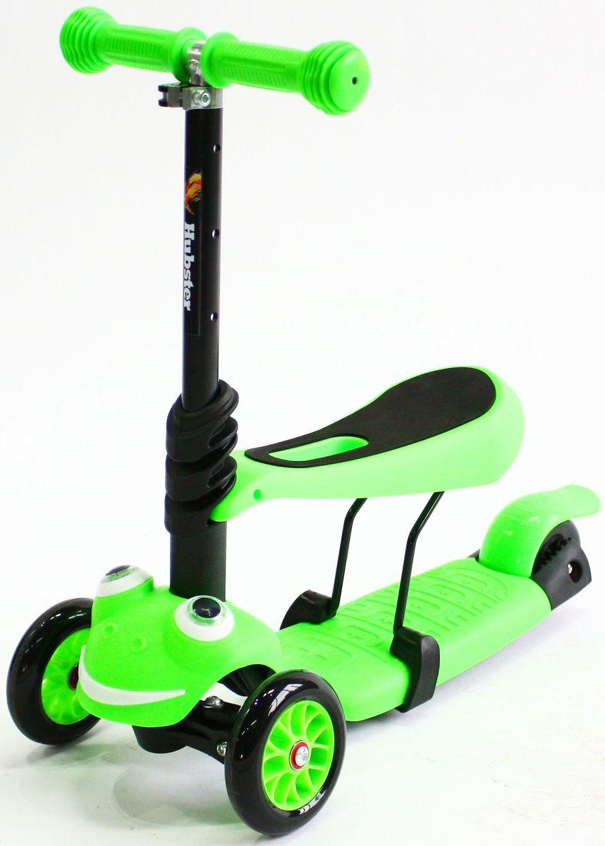 Самокат Hubster Lux Frog, цвет: зеленыйво2270Вес: 2 кг. Упаковка: 59 x 26 x 20 см (0,03 м3). Возраст: oт 2 до 5 лет. Максимальная нагрузка: до 50 кг. Уникальное рулевое управление. Высота руля: 50-72 см