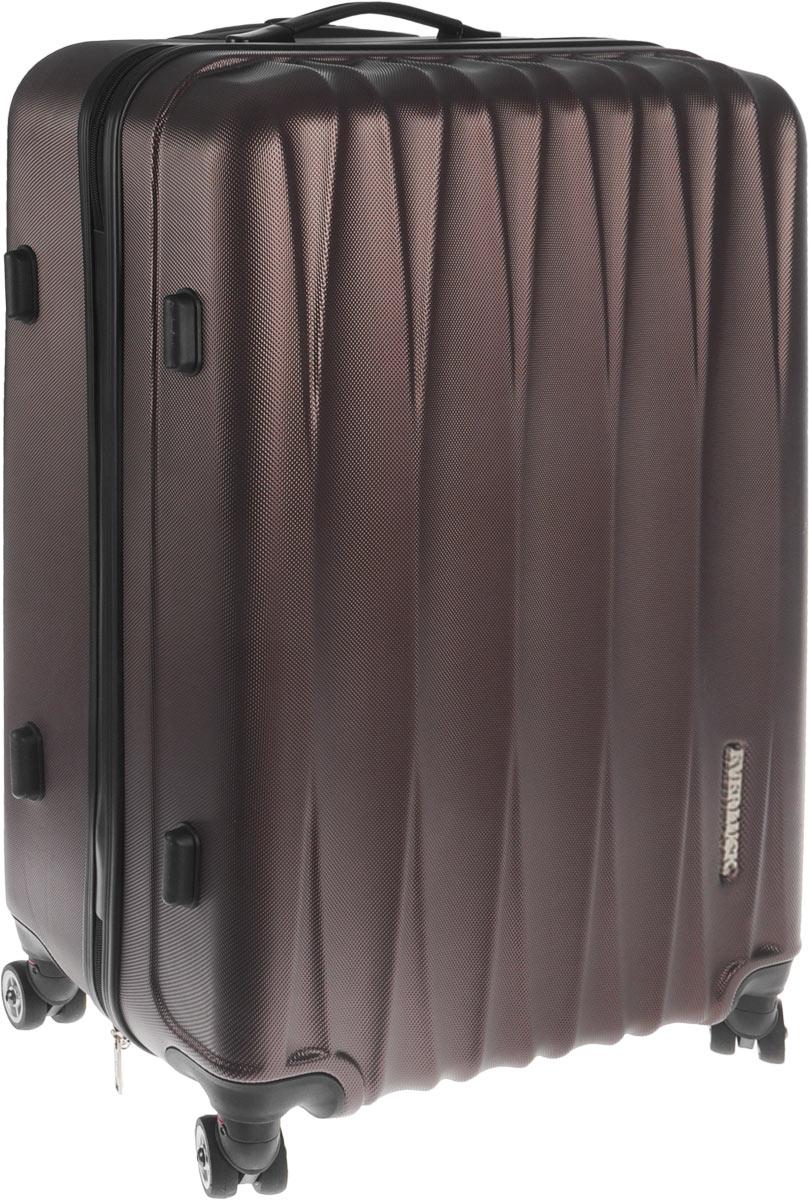 Чемодан пластиковый Everluck, цвет: темно-коричневый, 53 лER/ABS1765 60 cmЧемодан Everluck, выполненный из прочного пластика, прекрасно подойдет для путешествий. Чемодан очень вместителен, он содержит продуманную внутреннюю организацию, которая позволяет удобно разложить вещи. Имеется одно большое отделение, закрывающееся по периметру на застежку-молнию с двумя бегунками. Отделение имеет эластичные багажные ремни, которые соединяются при помощи застежки-защелки. На крышке, с внутренней стороны, предусмотрен большой карман на застежке-молнии с сетчатым карманом на застежке-молнии. Также внутри имеется нашивной карман на застежке-молнии. Для удобной перевозки чемодан оснащен четырьмя маневренными колесами, которые обеспечивают легкость перемещения в любом направлении. Телескопическая ручка выдвигается нажатием на кнопку. Сверху и сбоку предусмотрены эргономичные ручки для поднятия чемодана и удобной переноски. С одной из боковых сторон изделие оснащено пластиковыми ножками, защищающими его от повреждений. Чемодан оснащен...