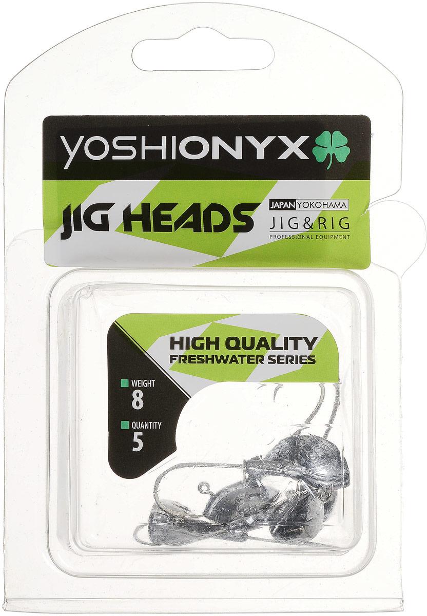 Джиг-головка Yoshi Onyx JIG Bros. Каблучок, крючок Gamakatsu, 8 г, 5 шт96514Джиг-головки Yoshi Onyx JIG Bros. Каблучок используются для огрузки спиннинговых приманок. Специально предназначены для ловли щуки на мягкие приманки на небольшой глубине рядом с водной растительностью. Благодаря особой форме, увеличивается маневренность и управляемость. Джиг-головки оснащены крючком Gamakatsu. Несмотря на кажущуюся простоту этих грузил, от правильного подбора во многом зависит клев хищника. Выбирайте джиговую головку в зависимости от предполагаемого места ловли и используемой с ней приманки, возможной глубины, скорости течения, ветра и прочего.