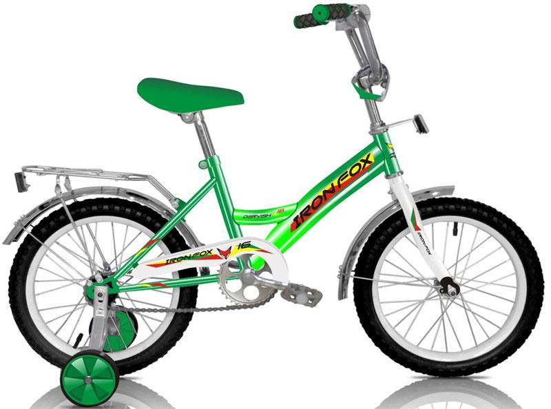 Велосипед детский Iron Fox Derby 16, цвет: зеленый342906Рама: сталь Вилка: жесткая, сталь Количество скоростей: 1 Размер колес: 16 Резина: 16*2,125 Обода: cталь, 16 Тормоза: втулочные, ножные Дополнительное оборудование: отражатели, дополнительные колеса, крылья (стальные), багажник