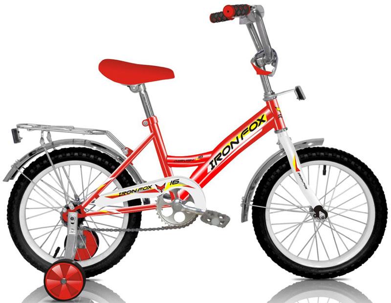 Велосипед детский Iron Fox Derby 16, цвет: красный342907Рама: сталь Вилка: жесткая, сталь Количество скоростей: 1 Размер колес: 16 Резина: 16*2,125 Обода: cталь, 16 Тормоза: втулочные, ножные Дополнительное оборудование: отражатели, дополнительные колеса, крылья (стальные), багажник