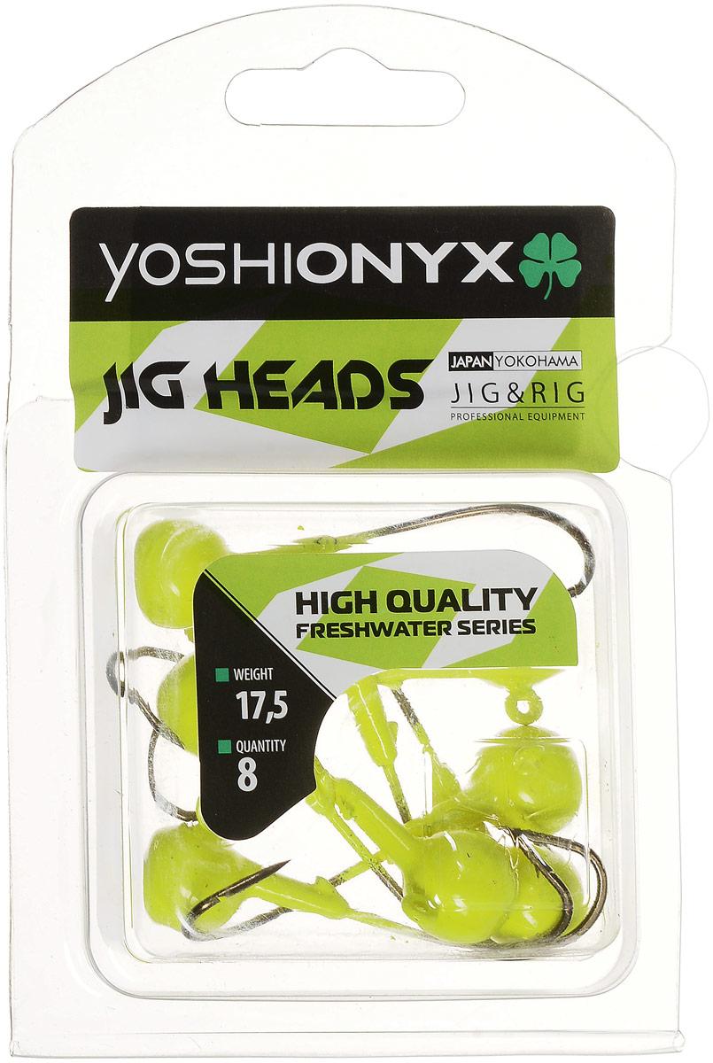 Джиг-головка Yoshi Onyx JIG Bros. Шар 1, крючок Eagle Claw, цвет: лимонный, 17,5 г, 8 шт96512Джиг-головки Yoshi Onyx JIG Bros. Шар 1, окрашенные в яркий цвет, станут незаменимыми помощниками рыбака в поиске и поимке трофея. Джиг-головки используются для огрузки спиннинговых приманок. Форма шар является одной из самых популярных в джиговых оснастках из-за ее универсальности. Шары с успехом применяются практически на всех водоемах. Острый и невероятно прочный крючок Eagle Claw, который почти невозможно разогнуть, оснащает джиг-головку. Несмотря на кажущуюся простоту этих грузил, от правильного подбора во многом зависит клев хищника. Выбирайте джиговую головку в зависимости от предполагаемого места ловли и используемой с ней приманки, возможной глубины, скорости течения, ветра и прочего.