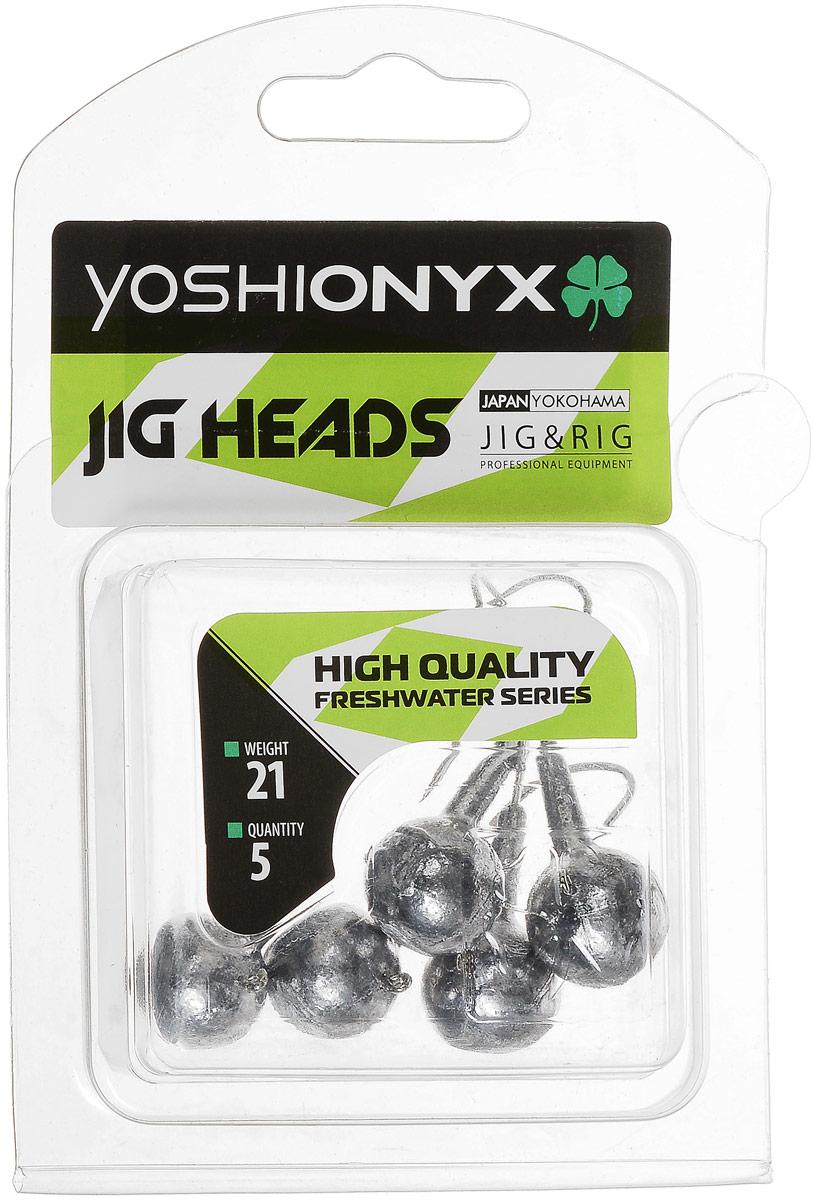 Джиг-головка Yoshi Onyx JIG Bros. Шар 1, крючок Gamakatsu, 21 г, 5 шт96503Джиг-головки Yoshi Onyx JIG Bros. Шар 1 предназначены для огрузки спиннинговых приманок. Форма шар является одной из самых популярных в джиговых оснастках из-за ее универсальности. Шары с успехом применяются практически на всех водоемах. Джиг-головки оснащены крючком Gamakatsu. Такой крючок прекрасно пробивает жесткую пасть крупного судака, щуки и сома. Несмотря на кажущуюся простоту этих грузил, от правильного подбора во многом зависит клев хищника. Выбирайте джиговую головку в зависимости от предполагаемого места ловли и используемой с ней приманки, возможной глубины, скорости течения, ветра и прочего.