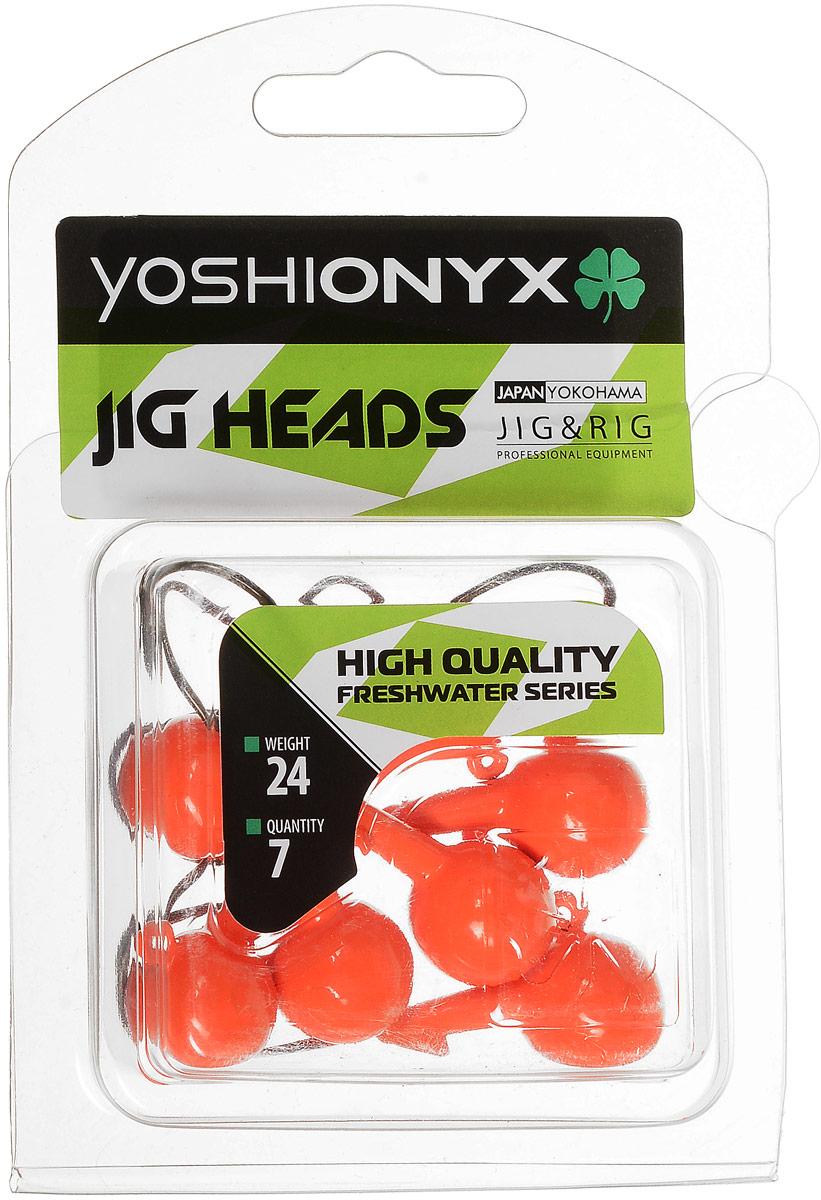 Джиг-головка Yoshi Onyx JIG Bros. Шар 1, крючок Eagle Claw, цвет: оранжевый, 24 г, 7 шт96508Джиг-головки Yoshi Onyx JIG Bros. Шар 1, окрашенные в яркий цвет, станут незаменимыми помощниками рыбака в поиске и поимке трофея. Джиг-головки используются для огрузки спиннинговых приманок. Форма шар является одной из самых популярных в джиговых оснастках из-за ее универсальности. Шары с успехом применяются практически на всех водоемах. Острый и невероятно прочный крючок Eagle Claw, который почти невозможно разогнуть, оснащает джиг-головку. Несмотря на кажущуюся простоту этих грузил, от правильного подбора во многом зависит клев хищника. Выбирайте джиговую головку в зависимости от предполагаемого места ловли и используемой с ней приманки, возможной глубины, скорости течения, ветра и прочего.
