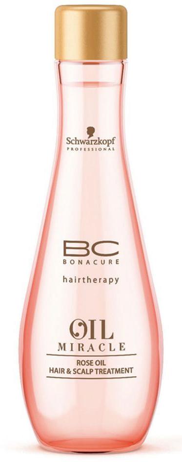 Bonacure Маска для кожи головы и волос (масло) Oil Miracle Rose Oil Hair & Scalp Treatment 100 мл1827936Масло для кожи головы и волос с содержанием роскошных экстрактов дамасской и дикой розы, окутывает волосы и кожу головы легкой ароматной вуалью. Драгоценные свойства масла успокаивает и увлажняет кожу головы и волосы без утяжеления. Делает волосы мягкими и блестящими. Рекомендуется использовать в комплексе с шампуем BC Oil Miracle Rose Oil.