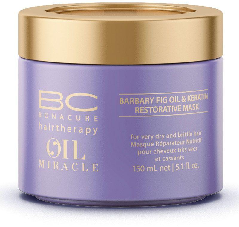 Bonacure Восстанавливающая маска Барбери Oil Miracle Mask 150 мл1861761Восстанавливающая маска с маслом берберийской фиги максимально питает и разглаживает сухие и ломкие волосы, придавая им блеск и гладкость. Роскошная формула с микронизированным кератином глубоко восстанавливает фиброзную структуру волоса, волосы восстановлены, меньше подвержены повреждениям и наполнены блеском. Рекомедуется использова в комплексе с шампунем для сухих и ломких волос BC Oil Miracle Barbary Fig.