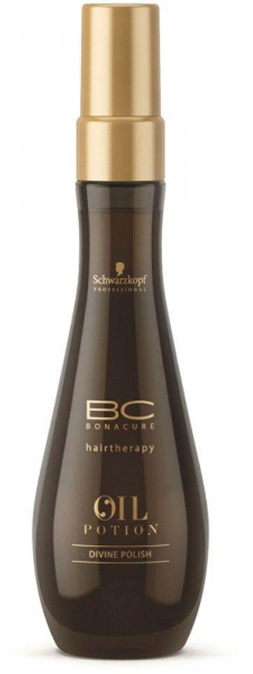 Bonacure Спрей - блеск для волос Oil Miracle Divine Polish 100 мл1913875Спрей - блеск благодаря разглаживающей формуле с маслами арганы и абрикосовых косточек, равномерно распределяется по поверхности волос, придавая им невероятный блеск. Основанная на силиконе система распределения с УФ - фильтром защищает волосы и помогает надолго сохранить блеск. Рекомендуется использовать в комплексе с шампунем для жестких волос BC Oil Miracle.