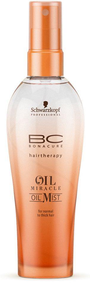 Bonacure Спрей-масло для жестких волос Oil Miraclre Oil Mist thick hair 100 мл1914270Спрей масло для жестких волос. Насыщенная формула с драгоценным аргановым маслом интенсивно питает волосы, состав быстро распределяется по полотну, обеспечивая гладкость и эластичность, а затем моментально испаряется. Рекомендуется использовать в комплексе с шампунем для жестких волос BC Oil Miracle.