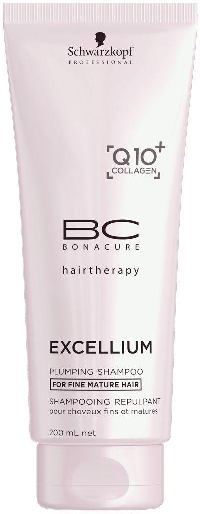 Bonacure Уплотняющий шампунь Excellium Plumping Shampoo 200 мл1995600Уплотняющий шампунь BC Excellium бережно очищает тонкие зрелые волосы. Ухаживающие ингредиенты глубоко питают и укрепляют внутреннюю структуру и разглаживают внешнюю поверхность волос. Шампунь стимулирует выработку кератина и защищает цвет волос