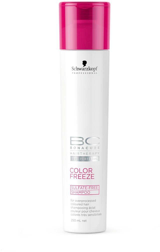 Bonacure Бессульфатный Шампунь Сияние Цвета Color Freeze Sulfate-Free Shampoo 250 мл2065718Бессульфатный мягкий шампунь для окрашенных волос. Деликтно и эффективно очищает окрашенные волосы, фиксирует пигменты цвета в структуре волос защищает волосы изнутри и снаружи. Рекомендуется использовать в комплексе с продуктами ухода линейки BC Color Freeze