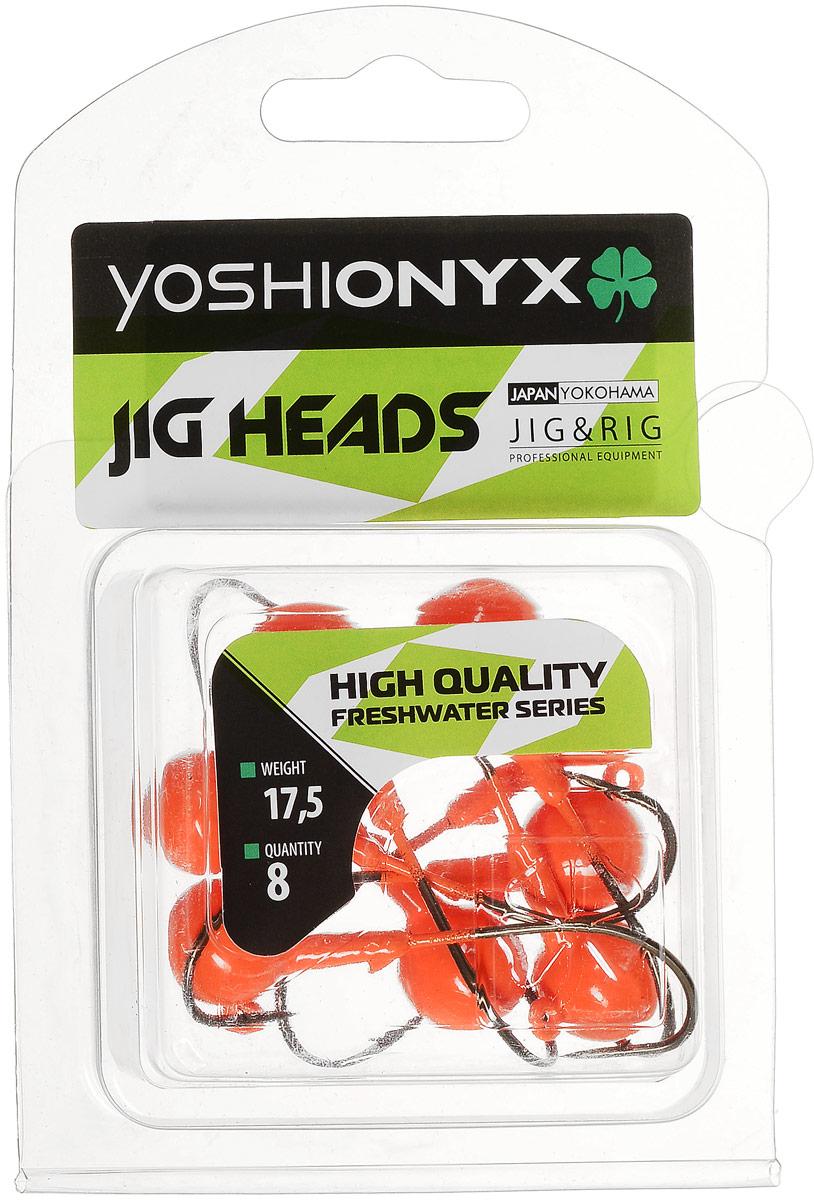 Джиг-головка Yoshi Onyx JIG Bros. Шар 1, крючок Eagle Claw, цвет: оранжевый, 17,5 г, 8 шт96507Джиг-головки Yoshi Onyx JIG Bros. Шар 1, окрашенные в яркий цвет, станут незаменимыми помощниками рыбака в поиске и поимке трофея. Джиг-головки используются для огрузки спиннинговых приманок. Форма шар является одной из самых популярных в джиговых оснастках из-за ее универсальности. Шары с успехом применяются практически на всех водоемах. Острый и невероятно прочный крючок Eagle Claw, который почти невозможно разогнуть, оснащает джиг-головку. Несмотря на кажущуюся простоту этих грузил, от правильного подбора во многом зависит клев хищника. Выбирайте джиговую головку в зависимости от предполагаемого места ловли и используемой с ней приманки, возможной глубины, скорости течения, ветра и прочего.