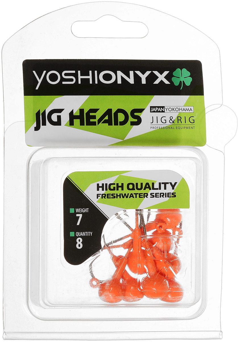 Джиг-головка Yoshi Onyx JIG Bros. Шар 1, крючок Eagle Claw, цвет: оранжевый, 7 г, 8 шт96505Джиг-головки Yoshi Onyx JIG Bros. Шар 1, окрашенные в яркий цвет, станут незаменимыми помощниками рыбака в поиске и поимке трофея. Джиг-головки используются для огрузки спиннинговых приманок. Форма шар является одной из самых популярных в джиговых оснастках из-за ее универсальности. Шары с успехом применяются практически на всех водоемах. Острый и невероятно прочный крючок Eagle Claw, который почти невозможно разогнуть, оснащает джиг-головку. Несмотря на кажущуюся простоту этих грузил, от правильного подбора во многом зависит клев хищника. Выбирайте джиговую головку в зависимости от предполагаемого места ловли и используемой с ней приманки, возможной глубины, скорости течения, ветра и прочего.