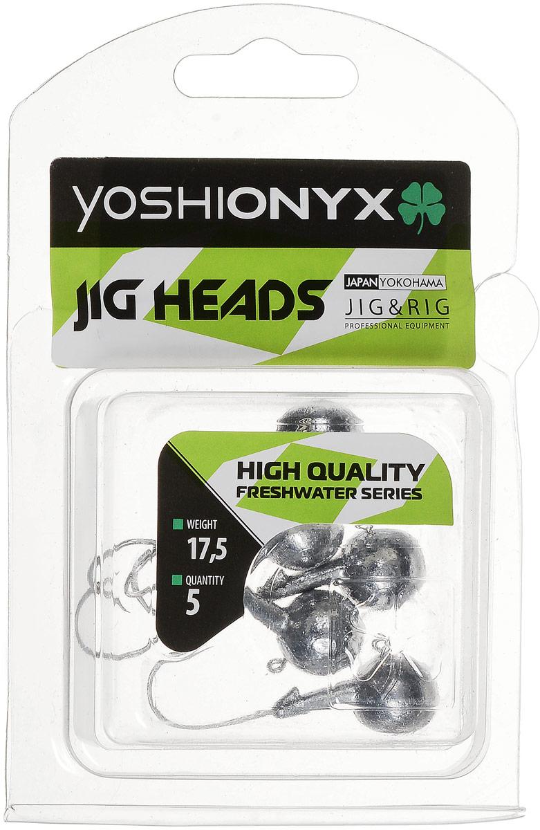 Джиг-головка Yoshi Onyx JIG Bros. Шар 1, крючок Gamakatsu, 17,5 г, 5 шт96502Джиг-головки Yoshi Onyx JIG Bros. Шар 1 предназначены для огрузки спиннинговых приманок. Форма шар является одной из самых популярных в джиговых оснастках из-за ее универсальности. Шары с успехом применяются практически на всех водоемах. Джиг-головки оснащены крючком Gamakatsu. Такой крючок прекрасно пробивает жесткую пасть крупного судака, щуки и сома. Несмотря на кажущуюся простоту этих грузил, от правильного подбора во многом зависит клев хищника. Выбирайте джиговую головку в зависимости от предполагаемого места ловли и используемой с ней приманки, возможной глубины, скорости течения, ветра и прочего.