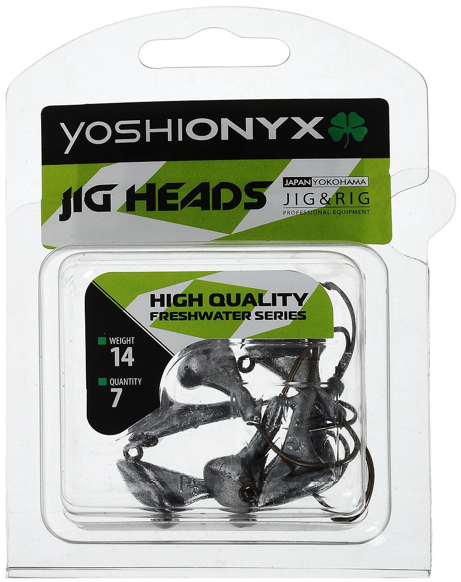 Джиг-головка Yoshi Onyx JIG Bros. Стоящий на дне, крючок Eagle Claw, 14 г, 8 шт96532Джиг-головки Yoshi Onyx JIG Bros. Стоящий на дне предназначены для огрузки спиннинговых приманок. Несмотря на кажущуюся простоту этих грузил, от правильного подбора во многом зависит клев хищника. Джигголовки на крючке Eagle Claw - незаменимые помощники рыбака в поиске и поимке трофея. Острые и невероятно прочные крючки, которые почти невозможно разогнуть, оснащают джиг-головку с правильным весом. Вес: 14 г. Количество: 8 шт.