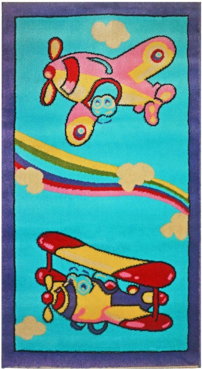 Ковер детский Kamalak Tekstil, цвет: голубой, 100 х 150 см. УКД-2043УКД-2043Ковры-паласы выполнены из полипропилена. Ковры обладают хорошими показателями теплостойкости и шумоизоляции. Являются гиппоалергенными. За счет невысокого ворса ковры легко чистить. Вам придется по душе широкая гамма цветов и возможность гармонично оформить интерьер. Практичный и устойчивый к износу ворс - от постоянного хождения не истирается, не накапливает статическое электричество. Структура волокна в полипропиленовых моделях гладкая, поэтому грязь не может выесться, на ворсе она скапливается с трудом. Полипропилен не впитывает влагу, отталкивает водянистые пятна. Уход: Самый простой способ избавить изделие от грязи – пропылесосить его с обеих сторон (лицевой и изнаночной). Влажная уборка с применением шампуней и моющих средств не противопоказана. Если шерсти и шёлку универсальные чистящие составы не подходят, то для синтетики они придутся в самый раз. Хранить их нужно рулоном, не складывая «салфеткой». При надлежащем уходе синтетический ковёр прослужит долго, не утратив ни...