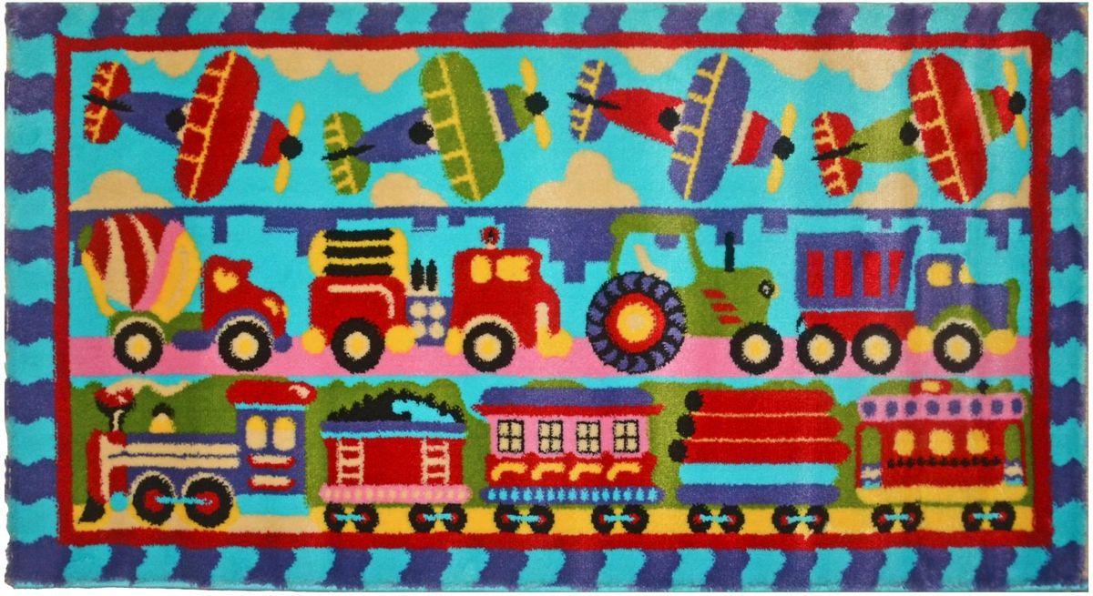 "Ковер детский Kamalak Tekstil ""Транспорт"", цвет: голубой, 80 х 150 см УКД-2056"