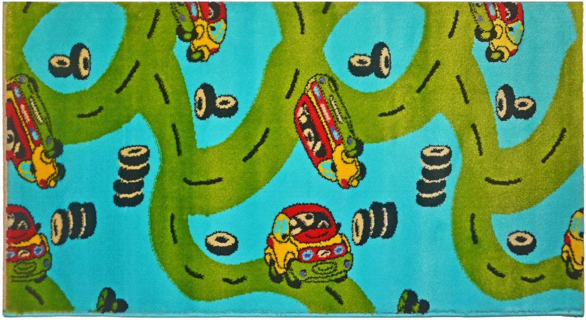 Ковер детский Kamalak Tekstil Картинг, цвет: синий, 80 х 150 смУКД-2074Ковры-паласы выполнены из полипропилена. Ковры обладают хорошими показателями теплостойкости и шумоизоляции. Являются гиппоалергенными. За счет невысокого ворса ковры легко чистить. Вам придется по душе широкая гамма цветов и возможность гармонично оформить интерьер. Практичный и устойчивый к износу ворс - от постоянного хождения не истирается, не накапливает статическое электричество. Структура волокна в полипропиленовых моделях гладкая, поэтому грязь не может выесться, на ворсе она скапливается с трудом. Полипропилен не впитывает влагу, отталкивает водянистые пятна. Уход: Самый простой способ избавить изделие от грязи – пропылесосить его с обеих сторон (лицевой и изнаночной). Влажная уборка с применением шампуней и моющих средств не противопоказана. Если шерсти и шёлку универсальные чистящие составы не подходят, то для синтетики они придутся в самый раз. Хранить их нужно рулоном, не складывая «салфеткой». При надлежащем уходе синтетический ковёр прослужит долго, не утратив ни...