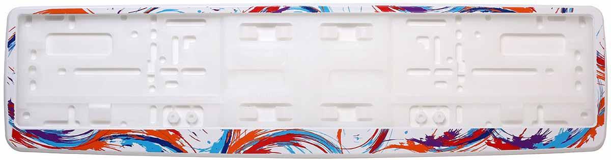 Рамка для номера Концерн Знак Абстрактные кисти, цвет: белый