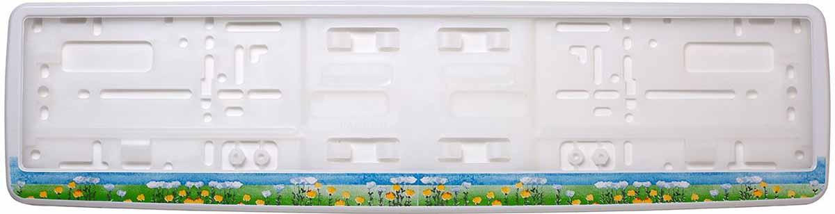 Рамка для номера Концерн Знак Полевые цветы, цвет: белый