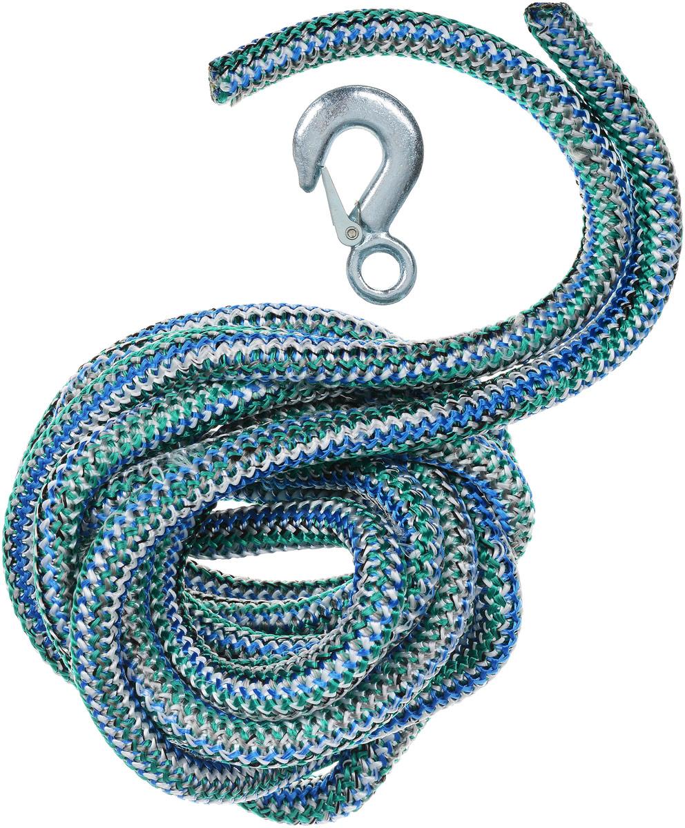 Трос буксировочный Skyway, веревочный, с 2 крюками, цвет: белый, зеленый, синий, 12 т, 5 мS03101011_белый, зеленый, синийБуксировочный трос Skyway представляет собой веревку из сверхпрочной полипропиленовой нити с двумя металлическими крюками. Специальное плетение веревки обеспечивает эластичность троса и плавный старт автомобиля при буксировке. На протяжении всего срока службы не меняет свои линейные размеры. Трос морозостойкий и влагостойкий. Длина троса соответствует ПДД РФ. Буксировочный трос обязательно должен быть в каждом автомобиле. Он необходим на случай аварийной ситуации или если ваш автомобиль застрял на бездорожье. Максимальная нагрузка: 12 т. Длина троса: 5 м.