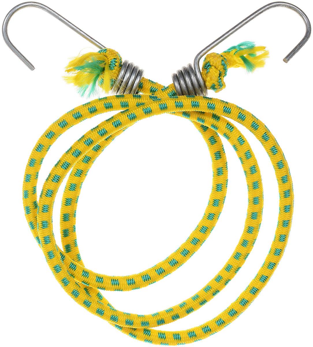 Резинка багажная МастерПроф, с крючками, цвет: желтый, зеленый, 0,6 х 110 см. АС.020052АС.020052_желтый, зеленыйБагажная резинка МастерПроф, выполненная из натурального каучука, оснащена специальными металлическими крюками, которые обеспечивают прочное крепление и не допускают смещения груза во время его перевозки. Изделие применяется для закрепления предметов к багажнику. Такая резинка позволит зафиксировать как небольшой груз, так и довольно габаритный. Температура использования: -50°C до +50°C. Безопасное удлинение: 125%. Толщина резинки: 6 мм. Длина резинки: 110 см.
