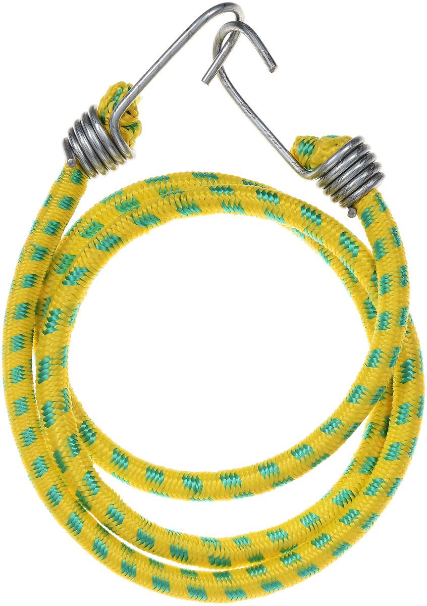 Резинка багажная МастерПроф, с крючками, цвет: желтый, зеленый, 1 х 110 см. АС.020023АС.020023_желтый, зеленыйБагажная резинка МастерПроф, выполненная из синтетического каучука, оснащена специальными металлическими крюками, которые обеспечивают прочное крепление и не допускают смещение груза во время его перевозки. Резинка применяется для закрепления предметов к багажнику. Она позволит зафиксировать как небольшой груз, так и довольно габаритный. Материал: синтетический каучук. Температура использования: -15°C до +50°C. Безопасное удлинение: 60%. Диаметр резинки: 10 мм. Длина резинки: 110 см.