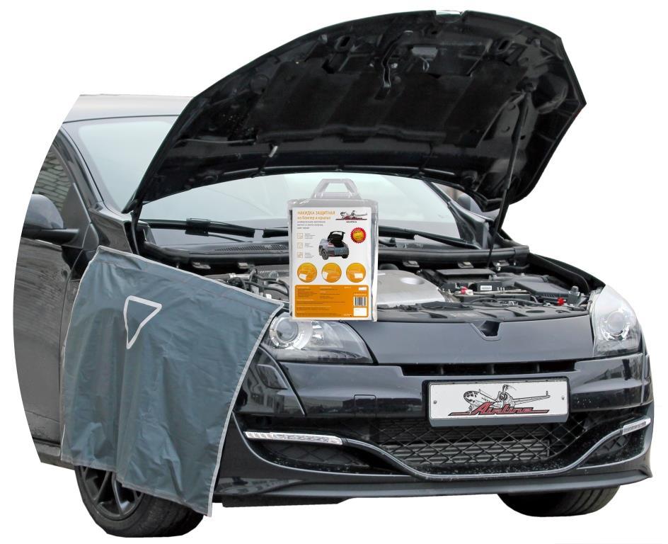 Накидка защитная на бампер и крылья Airline, цвет: серый, 100 х 72 смAO-PC-17Защитная накидка для бампера и крыльев автомобиля? это универсальное изделие, которое является надежным помощником при ремонте транспортного средства. Изделие фиксируется на корпусе автомобиля при помощи специальных липучек и магнитов и защищает покрытие машины от загрязнений и механических повреждений лакокрасочного покрытия. Преимущества: Защищает одежду от загрязнения Защищает автомобиль от механических повреждений при ремонте Защищает обивку багажника от грязи, пыли и пятен масла Износостойкий материал Легко моется многофункциональность применения имеет светоотражающий знак аварийной остановки универсальное крепление