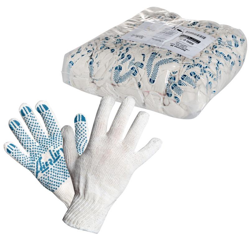 Перчатки Airline, с ПВХ покрытием, цвет: белый, голубой, 150Т/7,5 классAWG-C-02Перчатки Airline предназначены для защиты рук от механических повреждений при выполнении работ на производстве, в строительстве и в быту. Точечное покрытие ладони перчаток из поливинилхлорида обеспечивает хорошее сцепление с инструментами и поверхностями, предотвращает проскальзывание рук во время работы. Преимущества: Защита рук от повреждения и загрязнений. Хорошее сцепление благодаря ПВХ покрытию. Не маркие. 150Т/7,5 класс.