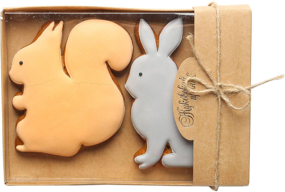Жуковский пряник Подарочный набор Белка и заяц00-00002508Медово-имбирный пряник с росписью из айсинга, фотопечатью на сахарной бумаге. Отличный подарок для любимых. Без ГМО.