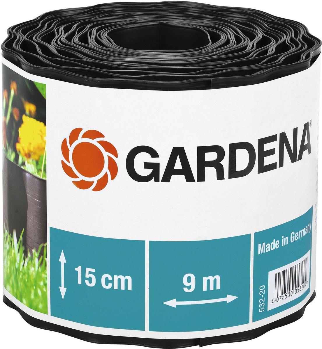 Бордюр Gardena, цвет: черный, ширина 15 см, длина 9 м00532-20.000.00Бордюр GARDENA, выполненный из высококачественного пластика, обеспечивает чистоту краев цветочных клумб. Четкая граница предотвращает чрезмерный рост растительности и распространение корней. В рулоне 9 м бордюра высотой 9 см, 15 см или 20 см.