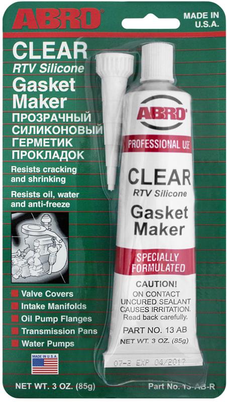 Герметик прокладок Abro, цвет: прозрачный, 85 г13-ABМногоцелевые герметики прокладок Blue, Red, Clear, Black предназначены для ремонта или замены почти всех встречающихся в автомобиле прокладок. Герметик ABRO принимает любую форму и успешно выдерживает сжатие, растяжение и сдвиг; совершенно не разрушается под действием автомобильных масел, воды и антифриза. Также герметик ABRO обладает высокой стойкостью к бензину и тормозной жидкости. Более мягкий герметик прокладок Blue (синий), также как Clear и Black (прозрачный, черный), предназначен для применения при температурах до 260°С, в то время как герметик прокладок Red (красного цвета) разработан для более высоких температур до 343°С.