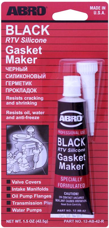 Герметик прокладок Abro, цвет: черный, 42,5 г12-AB-42.5Многоцелевые герметики прокладок Blue, Red, Clear, Black предназначены для ремонта или замены почти всех встречающихся в автомобиле прокладок. Герметик ABRO принимает любую форму и успешно выдерживает сжатие, растяжение и сдвиг; совершенно не разрушается под действием автомобильных масел, воды и антифриза. Также герметик ABRO обладает высокой стойкостью к бензину и тормозной жидкости. Более мягкий герметик прокладок Blue (синий), также как Clear и Black (прозрачный, черный), предназначен для применения при температурах до 260°С, в то время как герметик прокладок Red (красного цвета) разработан для более высоких температур до 343°С.