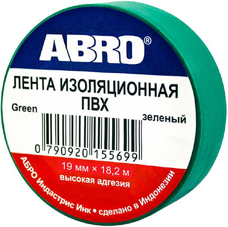 Изолента Abro, цвет: зеленый, 19 мм х 18,2 мET-912-20-GR-RПредназначение: - Изоляция проводов низкого напряжения. - Намотка пучков проводки - Маркирование Преимущества: -Эластичная -Устойчива к растяжению -Имеет высокую адгезию