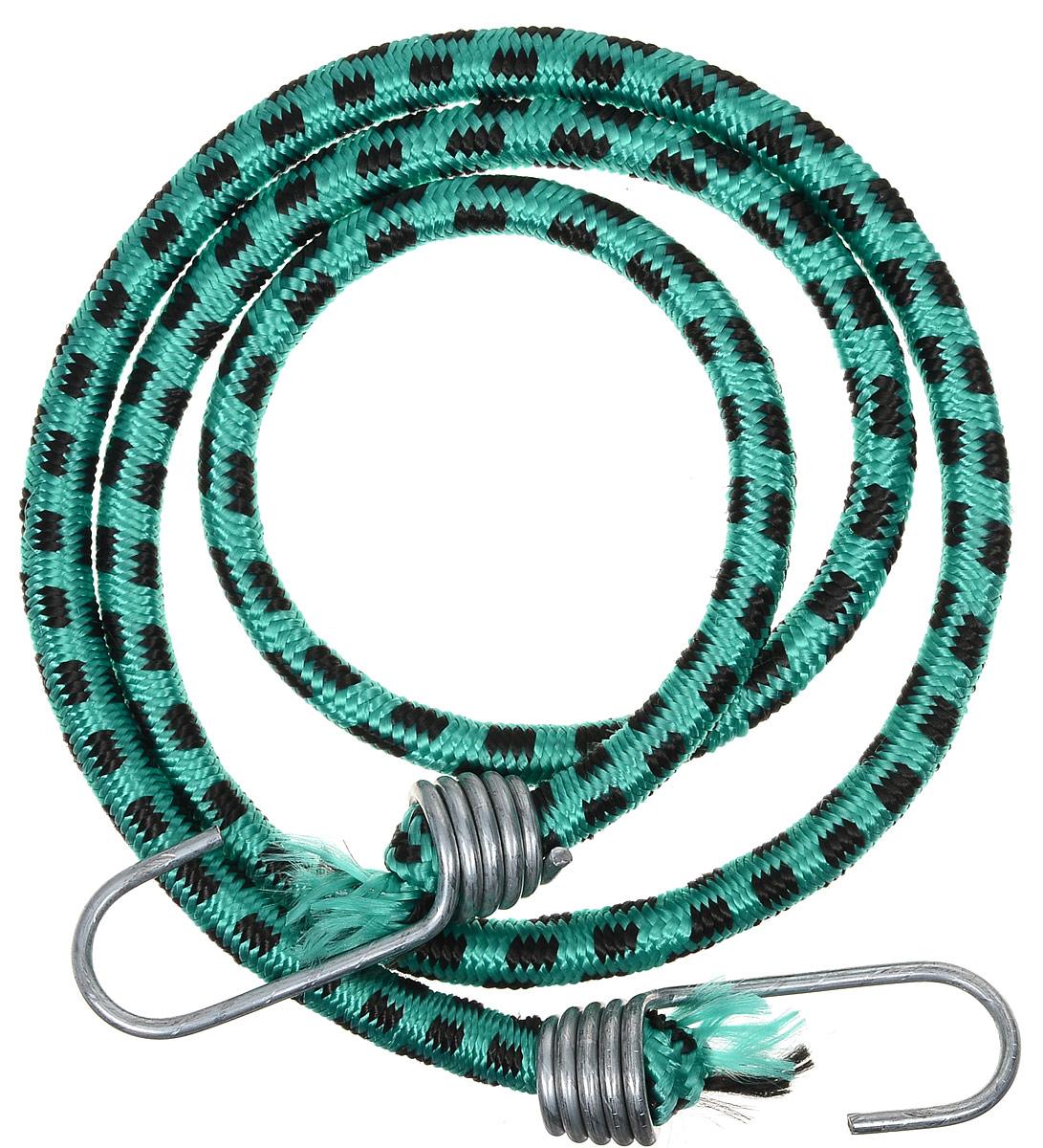 Резинка багажная МастерПроф, с крючками, цвет: зеленый, черный, 1 х 110 см. АС.020023АС.020023_зеленый, черныйБагажная резинка МастерПроф, выполненная из синтетического каучука, оснащена специальными металлическими крюками, которые обеспечивают прочное крепление и не допускают смещение груза во время его перевозки. Резинка применяется для закрепления предметов к багажнику. Она позволит зафиксировать как небольшой груз, так и довольно габаритный. Материал: синтетический каучук. Температура использования: -15°C до +50°C. Безопасное удлинение: 60%. Диаметр резинки: 10 мм. Длина резинки: 110 см.