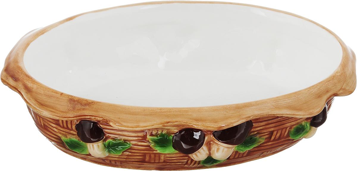 Блюдо-шубница Elan Gallery Грибы, 24 х 17 х 5,5 см110779/грибы/Блюдо-шубница Elan Gallery Грибы изготовлено из высококачественной керамики, покрытой сверкающей глазурью. Блюдо в виде корзинки декорировано оригинальным рельефом. Оно идеально подойдет для красивой сервировки слоеных салатов, например селедки под шубой, а также других блюд. Такое блюдо украсит ваш праздничный стол, а оригинальное исполнение понравится любой хозяйке. Не использовать в микроволновой печи.
