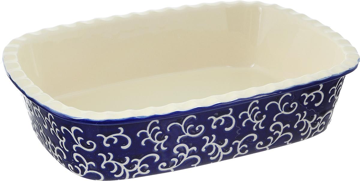 Форма для запекания Appetite, прямоугольная, цвет: синий, 30 х 22 х 7,5 смYR2026G-12Форма для запекания Appetite изготовлена из экологически чистой жаропрочной керамики с глазурованным покрытием. Изделие обеспечивает равномерное приготовление блюд по всей поверхности и долго сохраняет тепло. Пища, приготовленная в керамической посуде, сохраняет свои вкусовые качества и не может нанести вред здоровью человека, благодаря экологической чистоте материала. Керамика - один из самых лучших материалов, который удерживает тепло, медленно и равномерно его распределяет. Такая форма подходит для запекания и тушения разнообразных блюд: мяса, птицы, овощей. Посуда не впитывает посторонние запахи, не изменяет вкус продуктов и легко чистится. Внешние стенки изделия дополнены красивым рельефным узором. Форма пригодна для использования в духовом шкафу и в микроволновой печи при температуре до 220°С. Можно использовать для хранения продуктов в холодильнике. Пригодна для мытья в посудомоечной машине.