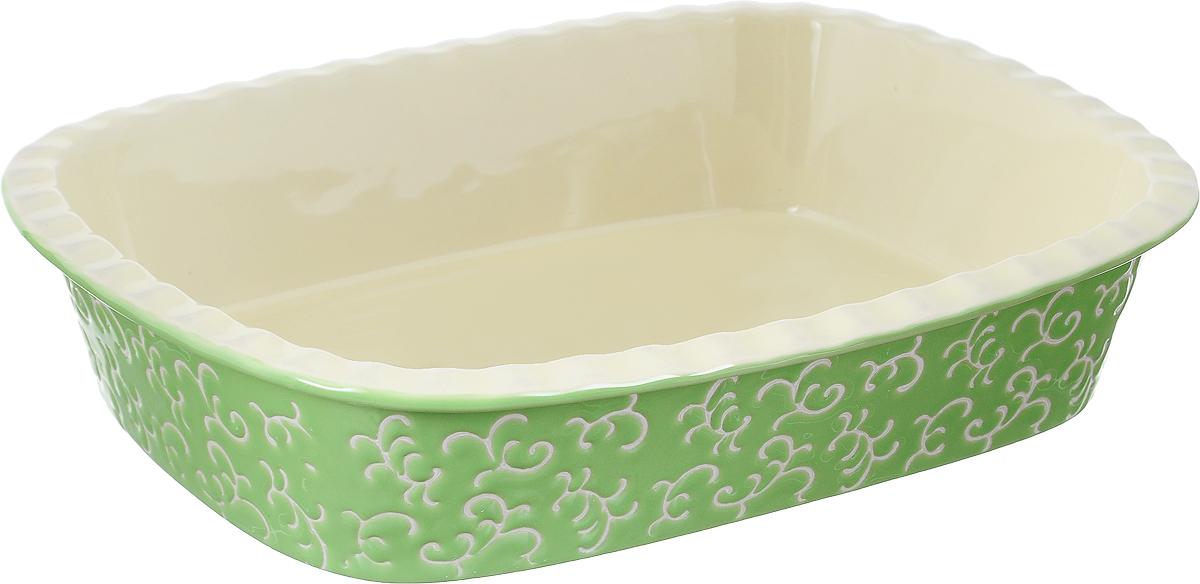 Форма для запекания Appetite, прямоугольная, цвет: зеленый, 35 х 25 х 7 смYR2026A-13Форма для запекания Appetite изготовлена из экологически чистой жаропрочной керамики с глазурованным покрытием. Изделие обеспечивает равномерное приготовление блюд по всей поверхности и долго сохраняет тепло. Пища, приготовленная в керамической посуде, сохраняет свои вкусовые качества и не может нанести вред здоровью человека, благодаря экологической чистоте материала. Керамика - один из самых лучших материалов, который удерживает тепло, медленно и равномерно его распределяет. Такая форма подходит для запекания и тушения разнообразных блюд: мяса, птицы, овощей. Посуда не впитывает посторонние запахи, не изменяет вкус продуктов и легко чистится. Внешние стенки изделия дополнены красивым рельефным узором. Форма пригодна для использования в духовом шкафу и в микроволновой печи при температуре до 220°С. Можно использовать для хранения продуктов в холодильнике. Пригодна для мытья в посудомоечной машине.