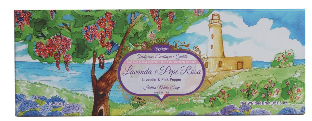 Iteritalia Мыло натуральное косметическое с оливковым маслом в подарочной упаковке ,аромат лаванда и розовый перец.3*100 гр.7726Высококачественное натуральное растительное мыло коллекции Цветы Италии, обогащенное оливковым маслом, обладает питательным, увлажняющим и успокаивающим свойствами, имеет тонкий, изысканный запах лаванды и розового перца. Подходит для всех типов кожи.