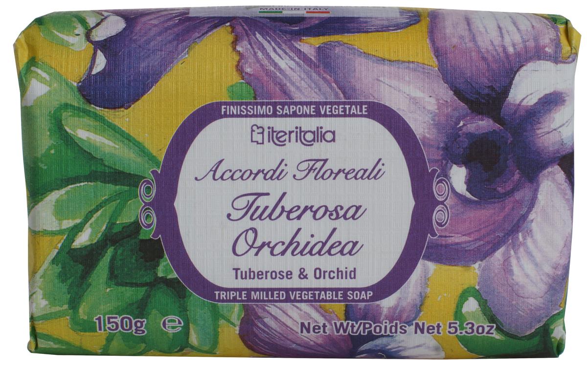 Iteritalia Мыло натуральное косметическое с оливковым маслом ,аромат туберозы и орхидеи 150 гр.965Натуральное косметическое мыло с ароматами орхидеи и туберозы .Высококачественное натуральное растительное мыло, обогащенное оливковым маслом, обладает питательным, увлажняющим и успокаивающим свойствами. Нежно очищает кожу, делая ее гладкой и бархатистой. Мягкое мыло, упакованное в эко-бумагу, имеет тонкий, изысканный аромат туберозы и орхидеи. Подходит для всех типов кожи.