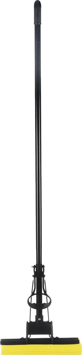 Швабра Unidom, с пластиковым коллектором, с одинарным отжимом, цвет: черный, желтый, длина 122 смМ-060Швабра Unidom, выполненная из пластика, металла и вспененного полимера, подходит для всех видов напольных покрытий. Швабра, имеющая отжимной механизм, хорошо впитывает большое количество влаги и легко устраняет загрязнения. Швабра Unidom проста в использовании, легко отжимает воду при помощи поднятия отжимного механизма, сохраняя ваши руки сухими и чистыми. Длина ручки швабры: 108 см. Общая длина швабры: 122 см. Размер рабочей части: 27 х 5,5 х 5 см.