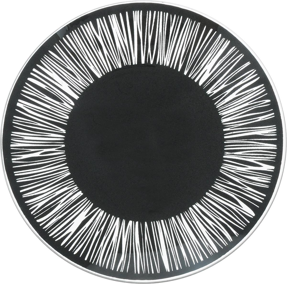 Тарелка NiNaGlass Витас, цвет: черный, диаметр 20 см85-200-016/чернТарелка NiNaGlass Витас изготовлена из высококачественного стекла. Изделие декорировано оригинальным дизайном. Такая тарелка отлично подойдет в качестве блюда, она идеальна для сервировки закусок, нарезок, горячих блюд. Тарелка прекрасно дополнит сервировку стола и порадует вас оригинальным дизайном. Диаметр тарелки: 20 см. Высота тарелки: 2,5 см.