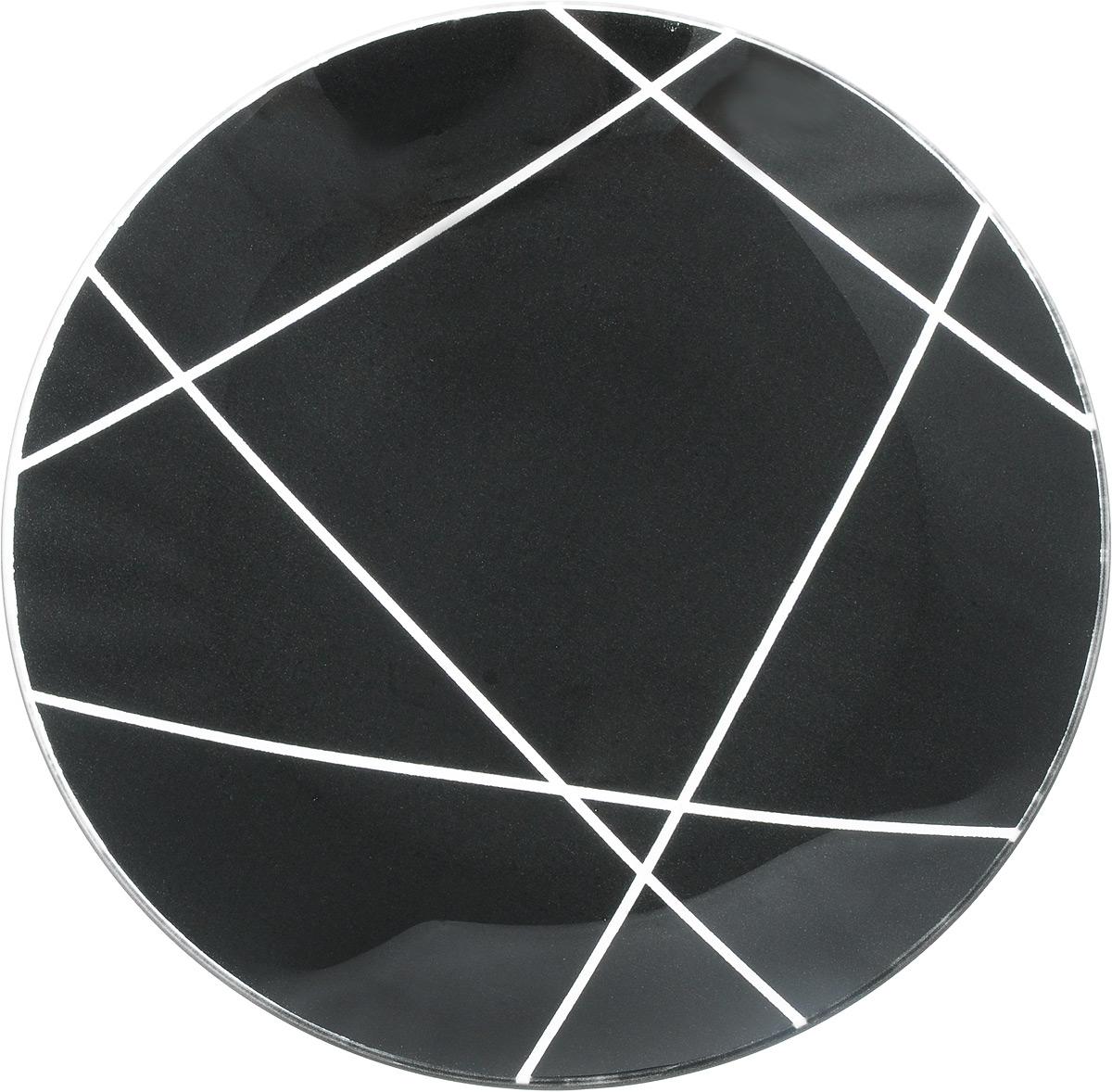 Тарелка NiNaGlass Контур, цвет: черный, диаметр 20 см85-200-002/чернКруглая тарелка NiNaGlass Контур, изготовленная из стекла, декорирована оригинальным рисунком. Она не только украсит сервировку вашего стола и подчеркнет прекрасный вкус хозяйки, но и станет отличным подарком. Диаметр: 20 см. Высота: 3 см.