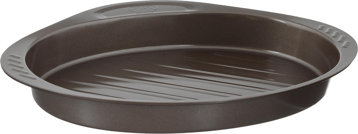 Форма-гриль для выпечки Pyrex asimetriA, овальная, с антипригарным покрытием, 35 х 23 смAS35OR0Форма-гриль для выпечки Pyrex asimetriA изготовлена из углеродистой стали с антипригарным покрытием на всей поверхности. Благодаря антипригарному покрытию нет необходимости использовать подсолнечное масло. Пища не пригорает и не прилипает к стенкам, легко достается из формы, сохраняя при этом аккуратный внешний вид. Покрытие обладает высокой прочностью и длительным сроком эксплуатации, а также является абсолютно безопасным, так как не содержит PFOA, свинца и кадмия. Форма быстро и равномерно нагревается. Изделие имеет высокие стенки, две боковых и одну фронтальную ручку. Дно формы имеет специальные желобки, которые не позволяют жиру контактировать с продуктами. Такая форма прослужит долго и обеспечит легкое и удобное приготовление ваших любимых блюд. Можно использовать в духовке при температуре до 230°С и мыть в посудомоечной машине. Внутренний размер формы: 35 х 23 см. Размер формы (с учетом ручек): 40 х 27 см. ...